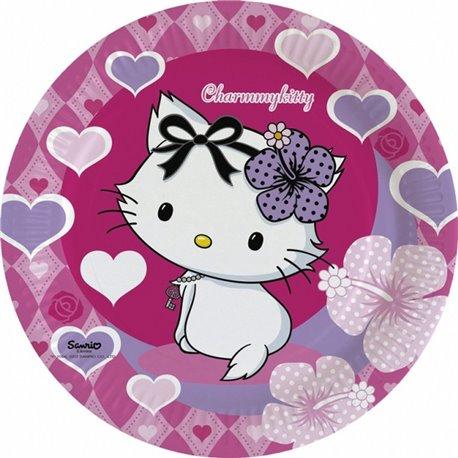Farfurii petrecere copii 23 cm Charmmy Kitty, Amscan RM552184, Set 8 buc