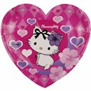 Charmmy Kitty Hearts Shaped Paper Plates 21 cm, Amscan RM552231, Pack of 6 Pieces