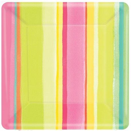 Farfurii petrecere copii 26 cm cu dungi colorate, Amscan 599703, Set 8 buc