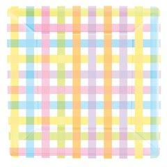 Farfurii petrecere copii 26 cm Colorful Gingham, Amscan 599750, Set 8 buc