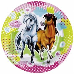 Charming Horses Paper Plates 18 cm, Amscan RM552342, Pack of 8 Pieces