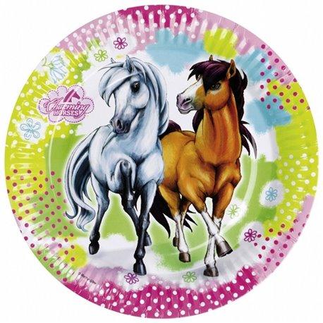 Farfurii petrecere copii 18 cm Charming Horses, Amscan RM552342, Set 8 buc