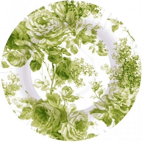 Farfurii carton petrecere 23 cm cu floricele verzi, Amscan 559891-53, Set 8 buc