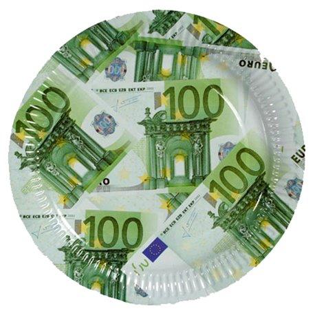 Farfurii cu bancnote euro 23 cm pentru petreceri, OOTB 33/0085, Set 10 buc
