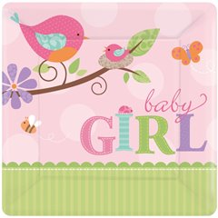 Tweet Baby Girl Square Plates 18cm, Amscan 541116, Pack of 8 Pieces