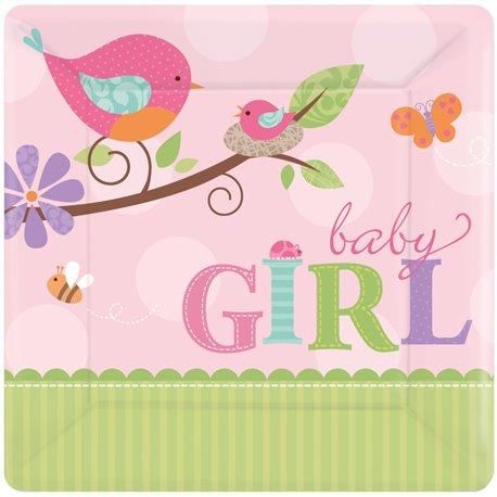 Farfurii petrecere copii 18 cm Tweet Baby Girl, Amscan 541116, Set 8 buc