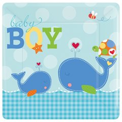 Ahoy Baby Blue Square Plates 18cm, Amscan 541117, Pack of 8 Pieces