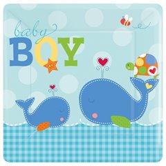 Farfurii petrecere copii 18 cm Ahoy Baby Blue, Amscan 541117, Set 8 buc