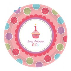 Farfurii petrecere copii 18 cm Sweet Little Cupcake Girl, Amscan 993862, Set 8 buc