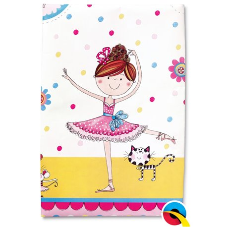 Fata de masa din plastic pentru petrecere copii - Ballerina, 180 x 120 cm, Qualatex 50888, 1 buc