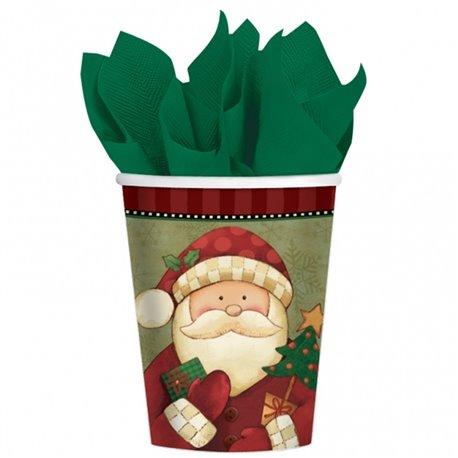 Pahare carton Cosy Santa pentru petrecere copii, 266ml, Amscan 589189, Set 8 buc