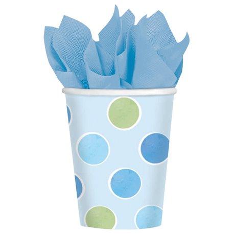 Pahare carton cu buline albastre pentru petrecere copii, 266ml, Amscan 589458, Set 8 buc