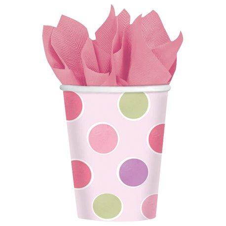 Pahare carton cu buline roz pentru petrecere copii, 266ml, Amscan 589457, Set 8 buc