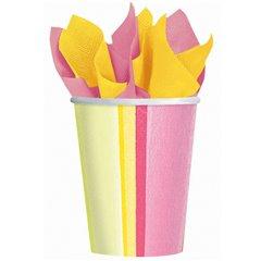 Pahare carton Sunny Stripe Pink pentru petrecere copii, 266ml, Amscan 589703, Set 8 buc