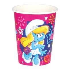 Pahare carton Strumfita pentru petrecere copii, 250ml, Amscan 552499, Set 8 buc