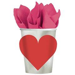 Pahare carton cu inimioare pentru petrecere, 266ml, Amscan 589658, Set 8 buc
