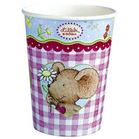Pahare carton Lillebi flowers pentru petrecere copii, 266ml, Amscan RM551948, Set 8 buc