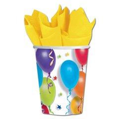 Pahare carton cu baloane multicolore pentru petrecere copii, 266ml, Amscan 589780, Set 8 buc