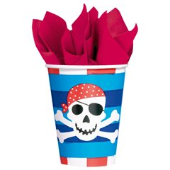 Pirates Treasure Paper Party Cups, 266 ml, Amscan 589877, Pack of 8 pieces