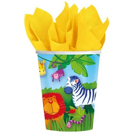 Pahare carton Jungle Animals pentru petrecere copii, 266ml, Amscan 589148, Set 8 buc