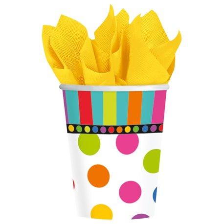 Pahare carton cu buline multicolore pentru petrecere copii, 266ml, Amscan 589472, Set 8 buc