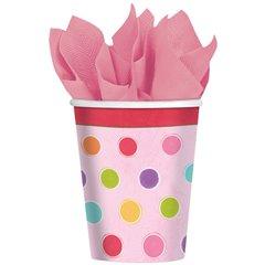 Pahare carton Polka Dots pentru petrecere copii, 266ml, Amscan 583675, Set 8 buc