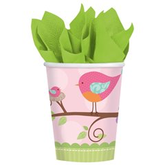 Pahare carton Baby Girl pentru petrecere copii, 266ml, Amscan 581116, Set 8 buc