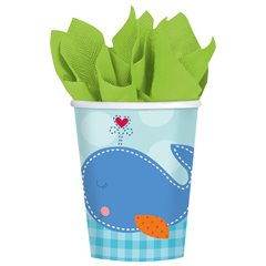 Pahare carton Ahoy Baby Blue pentru petrecere copii, 266ml, Amscan 581117, Set 8 buc