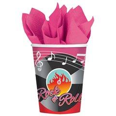 Pahare carton Rock & Roll pentru petrecere, 266ml, Amscan 581276, Set 8 buc