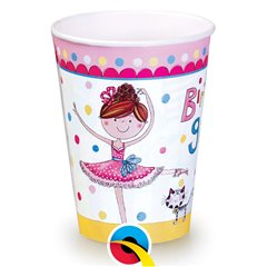 Pahare carton Happy Birthday pentru petrecere copii, 250ml, Qualatex 50887, Set 8 buc