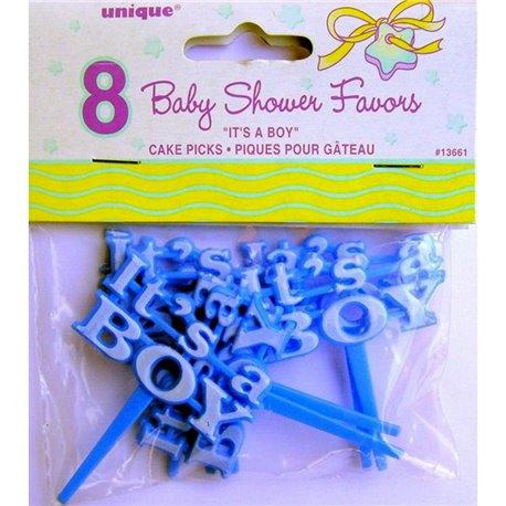 """Scobitori decorative albastre pentru briose cu """"It's a boy"""", Radar U13661, Set 8 buc"""