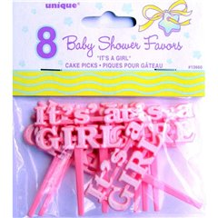 """It's a girl"" pink cake picks, Radar U13660, Pack of 8 pieces"