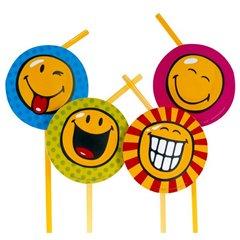 Paie flexibile pentru petrecere cu Smiley World, Amscan 551272, Set 8 buc
