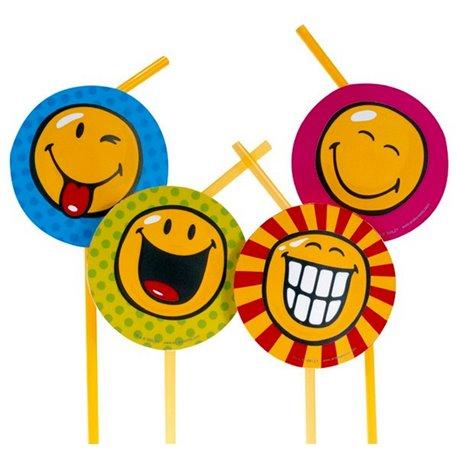 Paie flexibile pentru petrecere cu Smiley World, Amscan RM551272, Set 8 buc