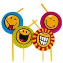 Smiley World Party Drinking Straws, Amscan RM551272, Pack of 8 pieces