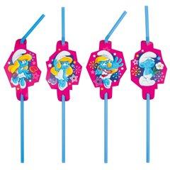 Paie flexibile pentru petrecere cu Fabuloasa Smurfette, Amscan 552502, Set 8 buc