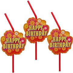 Happy Birthday Party Drinking Straws, Amscan RM550908, Pack of 10 pieces