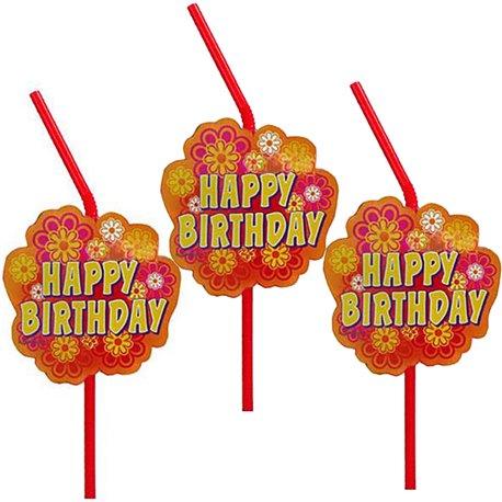 Paie flexibile pentru petrecere cu Happy Birthday, Amscan RM550908, Set 10 buc