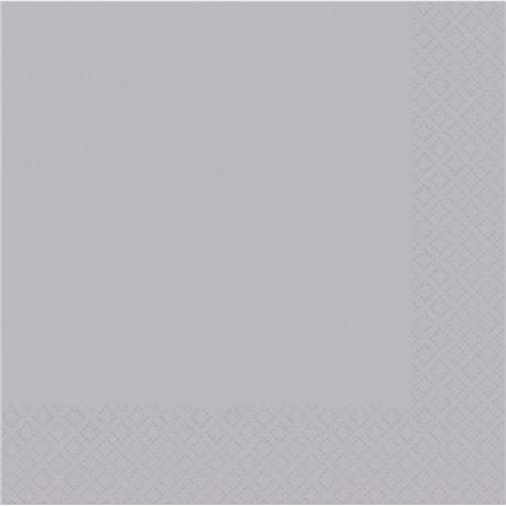Servetele uni pentru petrecere - Culoare argintiu, 40 x 40 cm, Amscan 62215-18, Set 50 buc