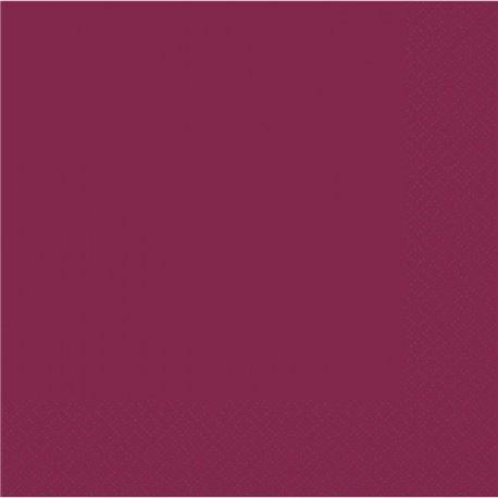 Servetele uni pentru petrecere - Culoare burgundi, 40 x 40 cm, Amscan 62215-91, Set 50 buc