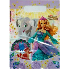 Pungute pentru cadouri copii la petreceri - Barbie, Amscan 551167, Set 6 buc