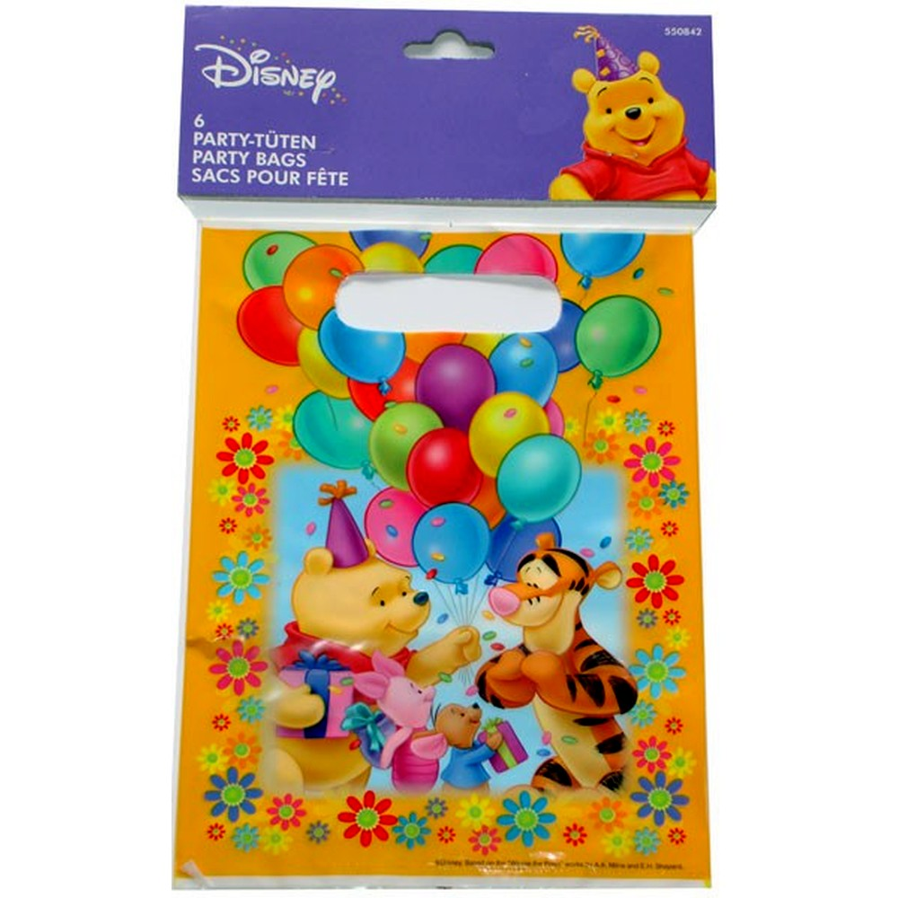 Winnie The Pooh Party Treat Bags Supplies Amscan Rm550842 Animal Pack Of 6 Pieces