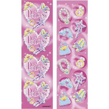 Stickere decorative pentru copii - Princess, Amscan 159945, Set 8 buc