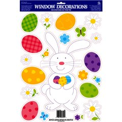 Easter Bunny Vinyl Window Cling, Amscan 240788, 1 piece