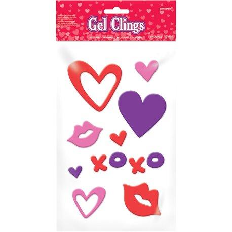 Stickere autocolante din gel pentru Valentines Day, Amscan 220038, Set 12 buc
