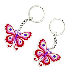 Pink Butterfly Keychain, Amscan 552069, Pack of 2 Pieces