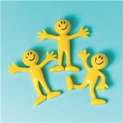 Yellow Bendable Smileys Figures, Amscan 390253, Pack of 12 pieces