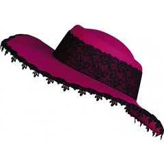Palarie dama roz cu dantela neagra, Amscan RM257567, 1 buc