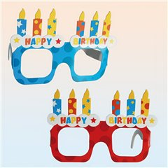 Happy Birthday, red & blue, fun glasses for party, OOTB 181034, Pack of 4 pieces