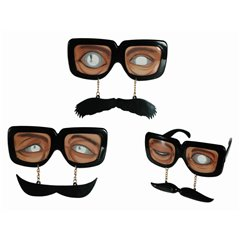 Plastic fun glasses with Moustache, OOTB 18/3929, 1 piece